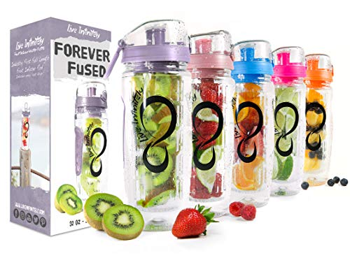 Live Infinitely 32 oz. Infuser Water Bottles - Featuring a Full Length Infusion Rod, Flip Top Lid, Dual Hand Grips & Recipe Ebook Gift (Lilac, 32 oz)