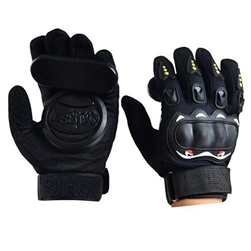 Acoser Longboard Downhill Slide Handschuhe Skate Handschuhe mit Slide Pucks (schwarz)