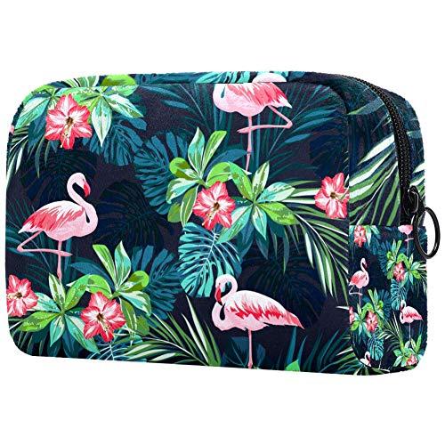Trousse de toilette portable pour femme avec motif flamant rose, oiseaux et fleurs