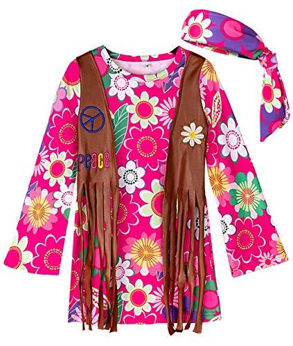 MOMBEBE COSLAND Disfraz Hippie Niña Costume Flor L