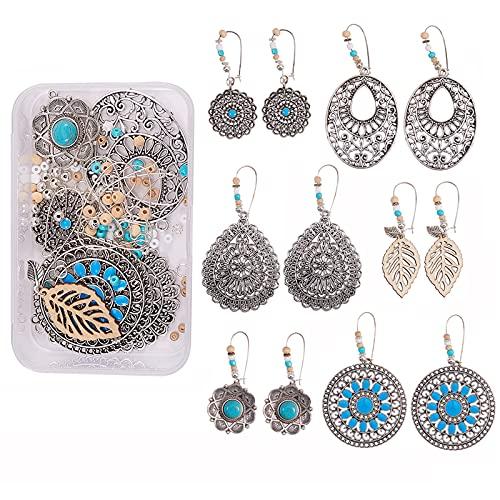 Stiesy 1 caja de estilo tibetano para hacer pendientes, kit de fabricación de joyas de plata antigua con colgantes de latón pendientes hallazgos de madera cuentas de vidrio semillas de perlas