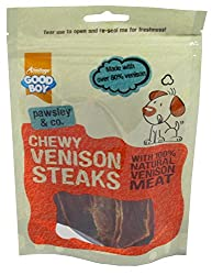 BULK PURCHASE 12 X 80G RESEALABLE PACKS GOODBOY CHEWY VENISON STEAKS LOW IN FAT IDEAL FOR DOGS AND PUPPIES OVER 4 MONTHS IDEAL FOR DOGS WITH SENSITIVE TUMMIES MADE WITH 100% NATURAL VENISON MEAT EACH PACK CONTAINS OVER 80% VENISON