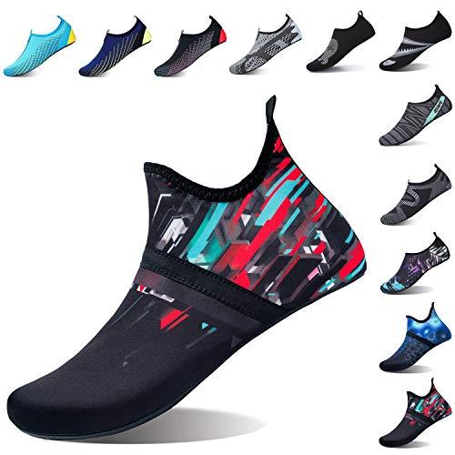 L-RUN Mens Water Swim Shoes Barefoot Skin Aqua Socks Black_red XXXL(M:12-13)=EU45-46