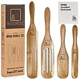 NOORDIC Wooden Spurtle Set with BONUS GIFT | 4-Piece Natural Acacia Wood Spurtles Kitchen Tools | Large + Slotted + Medium + Spreader Wooden Spatula Set | Wooden Cooking Utensils Set