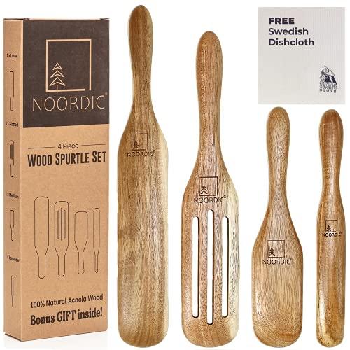 NOORDIC Wooden Spurtle Set with BONUS GIFT   4-Piece Natural Acacia Wood Spurtles Kitchen Tools   Large + Slotted + Medium + Spreader Wooden Spatula Set   Wooden Cooking Utensils Set