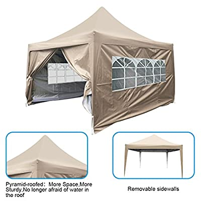 Quictent Upgraded 10x10 EZ Pop Up Canopy Tent Instant Canopy Gazebo with Sidewalls & Wheeled Carry Bag Waterproof -4 Colors