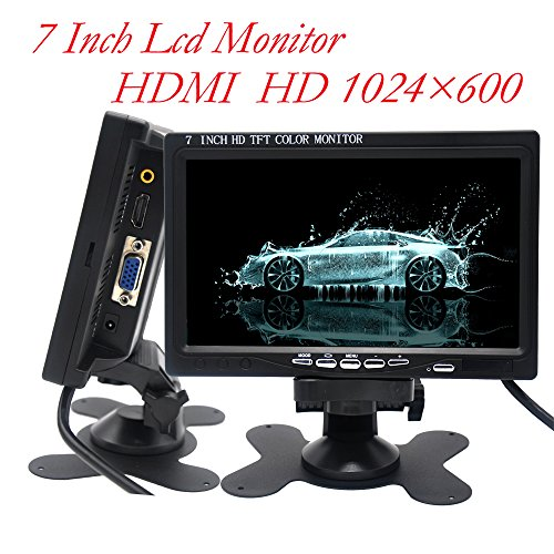 Padarsey 7 Inch Monitor HDMI - 1024x600 HD TFT LCD Screen Display AV VGA Input Built in Speaker for Raspberry Pi 3 Model B+ 3B CCTV Computer PC DVR Car