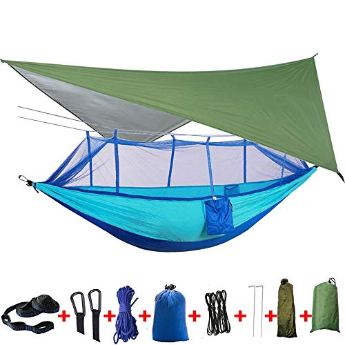 Travel Hammock Quick Drying Double Hanging Bed Outdoor Travel 2 Person Camping Hammock Tent with Mosquito Net Rainfly Tarp Cover For garden or camping (Color : Blue, Size : ONE SZIE)
