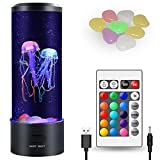 Kammoy Jellyfish Lamp, Electric Jellyfish Lava Lamp for Adults, Jellyfish Tank Table Lamp, Color Changing Jellyfish Aquarium, Home Decor and Room Mood Light Attached with 8 Free Luminous Stones