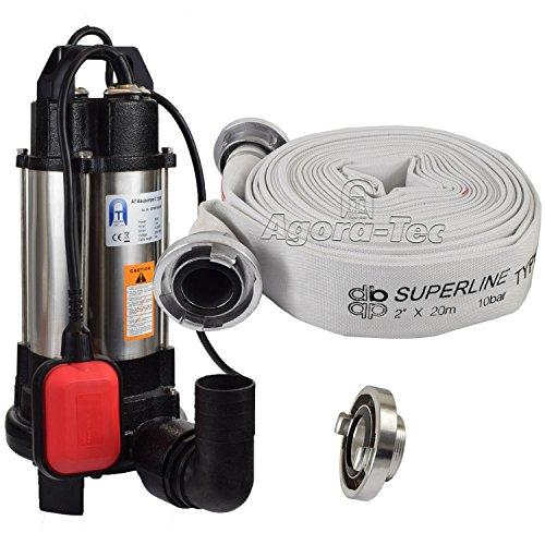 Agora-Tec® AT- Baupumpe-C-750W (mit Schneidwerk) Tauchpumpe für Schmutzwasser, Abwasser, für Fäkalien und organische Feststoffe mit Schwimmerschalter und max: 0,75 bar und max: 14000l/h inklusive C - STORZ Kupplung und (C-Schlauch: 20 Meter)