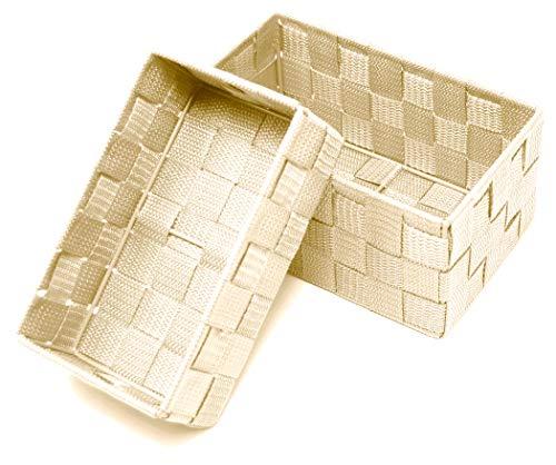 Lashuma Juego de 2 cestas de baño de color beige, tamaño: 19 x 10 x 7 cm y 20 x 13 x 10 cm, cestas para almacenamiento