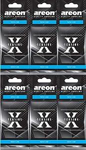 Areon X Ambientador Coche Olor Nuevo New Car Colgante Colgar Perfume Original Negro Cartón Retrovisor Casa Oficina 2D ( Pack de 6 )