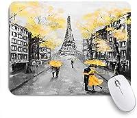 ECOMAOMI 可愛いマウスパッド 油絵パリヨーロッパの都市景観フランスエッフェル塔ブラックホワイトデザイン 滑り止めゴムバッキングマウスパッドノートブックコンピュータマウスマット