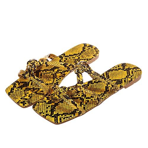 ZBYY Sandalias planas de serpentina planas para mujer, con puntera cuadrada, sandalias atractivas para la playa al aire libre