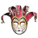 MeiYing Maschera Mezza Faccia Veneziana Testa di Leone, Costume di Halloween a Pieno facciale, Maschera da Ballo, Oggetti di Scena di Gioco di Ruolo, Collezione di Arte Decorativa da Parete, Bordeaux