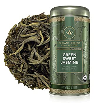 Teabloom Organic Green Tea Green Sweet Jasmine Loose Leaf Tea Captivating and Aromatic Classic Jasmine Tea USDA Certified Organic Fresh Whole Leaf Blend in Reusable Gift Canister 3.53 oz/100 g Canister Makes 35-50 Cups