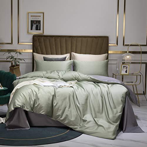 Luofanfei Bettwäsche 135x200 Baumwolle Grün Grau 2 TLG. Wende Bettwäsche Set Uni Renforce Bettdeckenbezug 135 x 200 cm mit Reißverschluss und Kissenbezug 80 x 80 cm