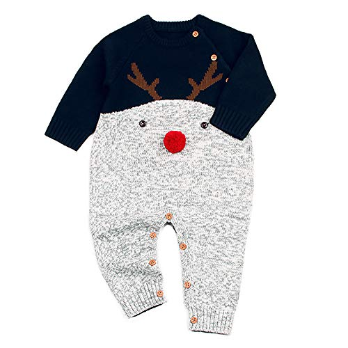 QHKIDS Infant Baby Toddler Boys Girls Long Sleeve Sweater Jumpsuit Christmas Reindeer Romper Outfits Blue