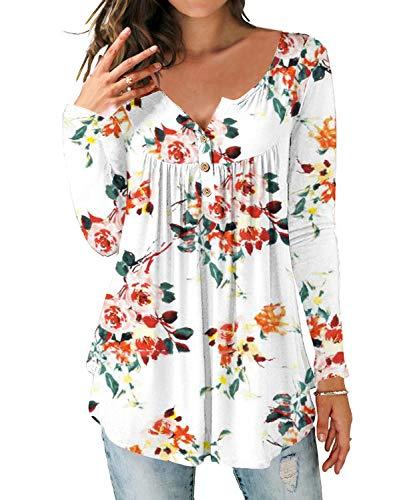 DEMO SHOW Damen Tunika Top Locker Langarm V Ausschnitt Knopfleiste Plissiert Floral Henley Shirt Bluse T Shirt (Langarm-Floral weiß, M)