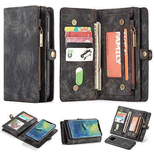 Simicoo Mate 20 Pro Leder Schutzhülle mit 11 Kartenfächer Standfunktion Reißverschluss Abnehmbare Magnetverschluss Robuste Silikon Brieftasche Tasche Handtasche für Mate 20 Pro (Black)