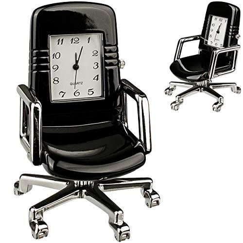 alles-meine.de GmbH kleine - Tischuhr / Miniatur - Uhr - Bürostuhl - Drehstuhl - aus Metall - 7 cm - batteriebetrieben - Analog - Batterie - schwarz - Zahlen Stehuhr / Standuhr -..