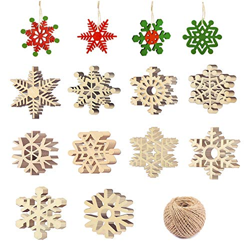 Zasiene Decoracion Arbol Navidad Madera 100 Piezas Copo de Nieve de Madera de Navidad Decoración Adornos Adornos Arbol Navidad Madera Copos de Nieve Ahuecados Decoración con Hilo