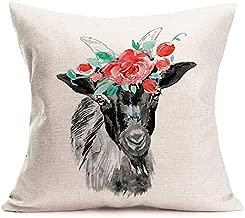 "MEHOTOP Watercolor Black Goat Throw Pillows Cases with Red Flower Wreath Garland Cushion Covers Body Lumbar Cute Animal Pillowcase 18""x18"" Farmhouse Decor (Black Goat)"