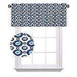 Cortinas de media ventana con diseño simétrico, todas las figuras de ojos supersticiosas turcas, adecuadas para pequeñas ventanas en cocinas y baños, 120 x 30 cm, azul pálido, blanco