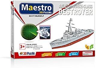 MAESTRO ARLEIGH BURKE-CLASS-50 PCS-Assembled Size: 44cm x 7cm x 16cm 3D Puzzles, Multicoloured (120105)