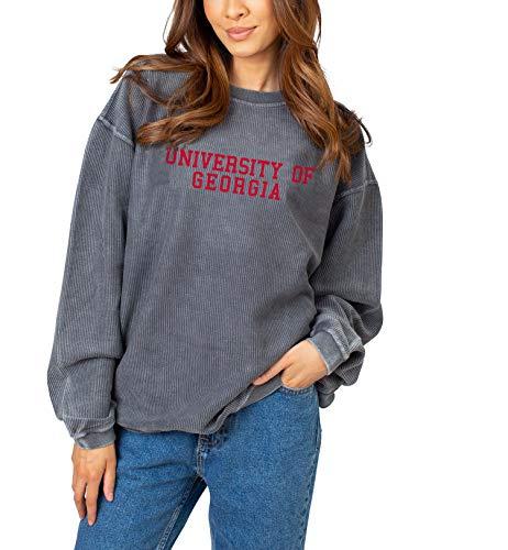 NCAA Georgia Bulldogs Womens Corded Crew Pullover Sweatshirt, Charcoal, Medium