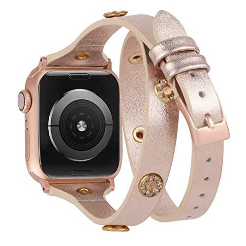 Glebo Correa de piel compatible con Apple Watch 42mm 44mm, IWatch Series 6 5 4 3 2 1, fina, brillante, doble envoltura de piel, correa de repuesto compatible para Apple Watch SE (oro rosa)