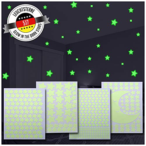 Magicstars 517 Estrellas Fluorescentes para Techo + Luna | Pegatinas Decorativas Pared | Estrellas Fluorescentes Adhesivas | Vinilos de Pared | 4 formatos + Luna
