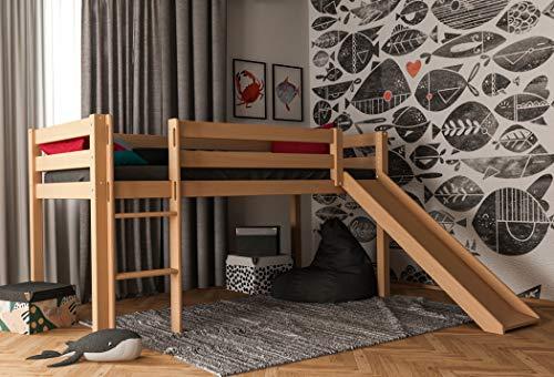 Hochbett für Kinder, Halbhochbett, Kinderbett 90 x 200, 100% aus Buche massiv, inkl. Lattenrost und Absturzsicherung (Ohne Textilien, Natur mit Rutsche)