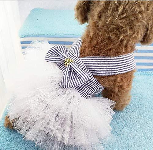 "通用 Cat & Dog Wedding Dress Gown, Cute Tutu Dress (Pink-White Stripe, XL Chest 19.5"") Review"