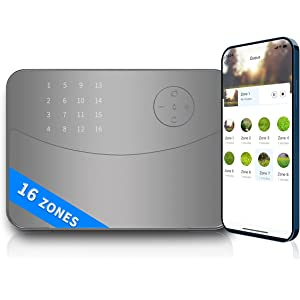 Irrigation Controller with Instant Button Control Smart Sprinkler Controller 16 Zone Rain Weather Aware Wind and Freeze Skip for iOS /& Android Devices WiFi Connection