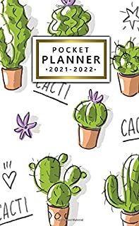 2021-2022 Pocket Planner: Adorable Green Cactus Two Year Calendar, Agenda, Diary | 2021-2022 Monthly Pocket Planner, Organ...