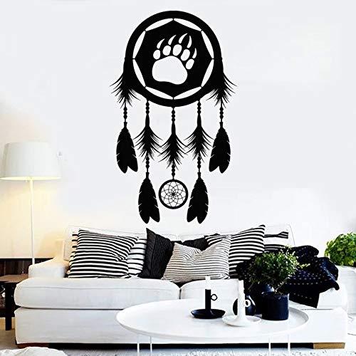HGFDHG Dream Wall Decal Catcher Garra Oso Tema Tribal Dormitorio Sala de Estar Tienda de Mascotas decoración de Interiores Vinilo Etiqueta de la Ventana Arte Mural
