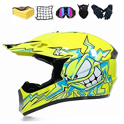 Casco de motocross infantil y adulto, integral para hombre, para BMX, MTB, Quad Enduro, ATV, Scooter, casco de Cross para niños con gafas, guantes, máscara (S, B)