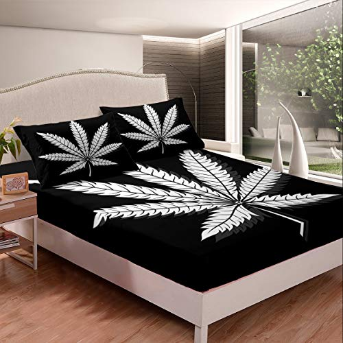 Marijuana Leaf Fitted Sheet Cannabis Leaves Bedding Set Marijuana Weed Leaf Print Bed Sheet Set for Men Adults Bedroom Decor Black White Leaf Pattern Bed Cover Double Size With 2 Pillow Case