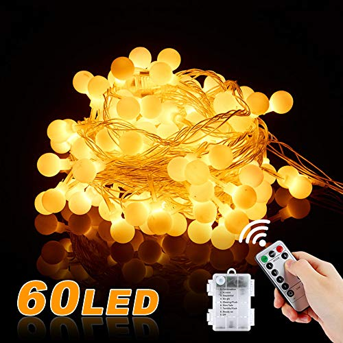 Vivibel Led-lichtsnoer met 60 leds, met afstandsbediening en timer, werkt op batterijen, IP68 waterdicht, buitenverlichting en binnenverlichting voor Kerstmis, bruiloft, feest, warmwit