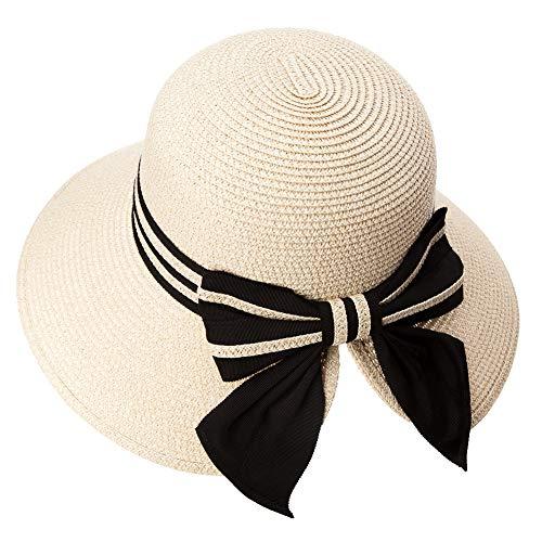 Comhats Damen Faltbarer Strohhut Sonnenhut UPF 50 + Sonnen Shade breite Krempe Beige