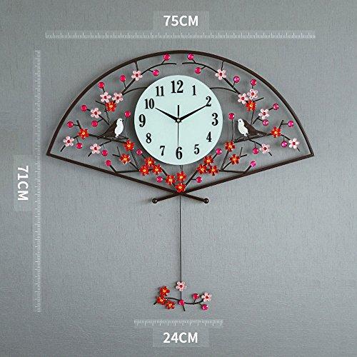 Bidesen Maison Déco Prune Fleurs en Forme d'éventail Horloge Murale pour Salon Moderne Minimaliste atmosphère créative Pendule Horloge Murale muet Grande Horloge