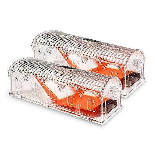 Eastind Humane - Trampas para ratones, para niños y mascotas, seguras, muy sensibles y seguras para ratones, reutilizables para uso en interiores y exteriores, 2 unidades (transparente)