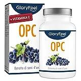 Integratore Estratto di semi d'uva OPC con Vitamina C, 180 Capsule Vegan, Dose Giornaliera di 1000mg di OPC puro da Uve Francesi, Proprietà Antiossidanti