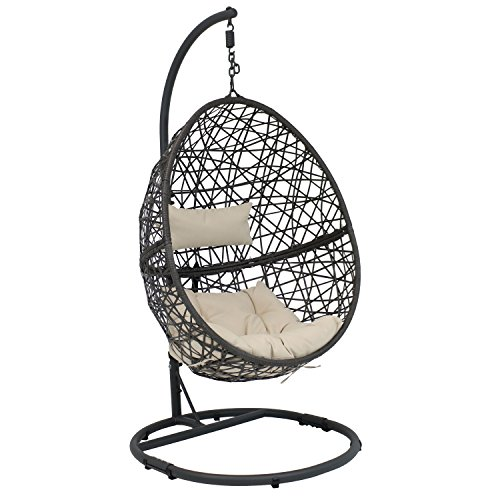 Sunnydaze Caroline Hanging Egg Chair Swing with Steel Stand Set, Resin Wicker, Modern Design,...