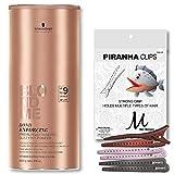 Schwarzkopf BlondMe Lightener 9+ Bond Enforcing Premium Dust Free Powder XXL 900 grams and M Hair Designs Piranha Hair Clips (Bundle - 2 items)