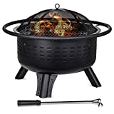 Hykolity Outdoor Fire Pit, 31-inch Steel Wood Burning Firepit Bowl BBQ Grill Firepit for Outside with Cooking Grate Spark Screen Fireplace Poker for Backyard, Bonfire, Patio