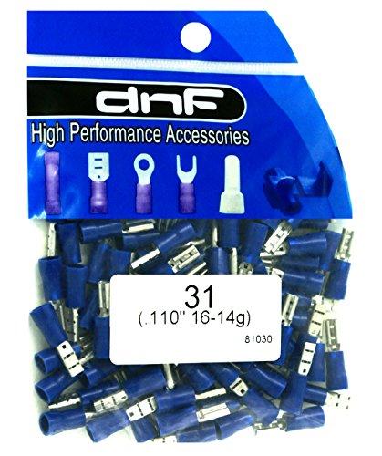DNF 200 Pack 16-14 Gauge Blue Vinyl Female Quick Disconnect Wire Connectors .110'