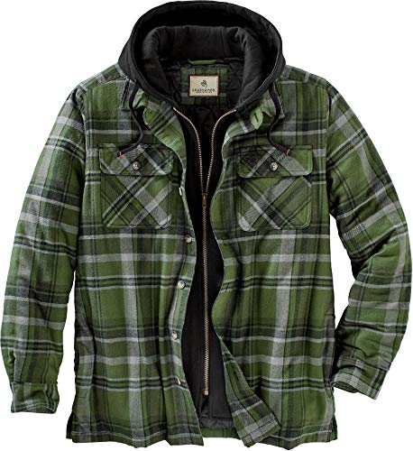 Legendary Whitetails Men's Maplewood Hooded Shirt Jacket Army Green Plaid Large
