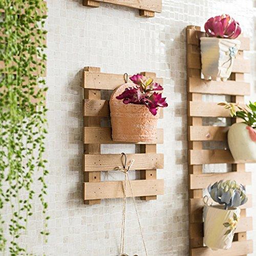 Fu Man Li Trading Company Porte-fleurs Ensemble de mur en bois massif Salon Ensemble de mur de fleurs Ensemble de mur suspendu pour balcon Ensemble de pot de plantation verte A+ ( Couleur : Marron , taille : Les petites )